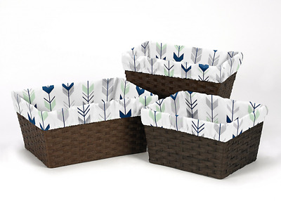 Sweet Jojo Designs Set of 3 One Size Fits Most Basket Liners for Grey, Navy Blue