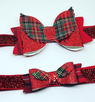 Tartan Angel Wing Glitter Bow Big or Small Headbands Baby Girls Chirstmas + Lot