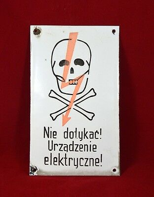 Antique Vintage Polish Danger Sign Enamel Porcelain Industrial Death Head Skull