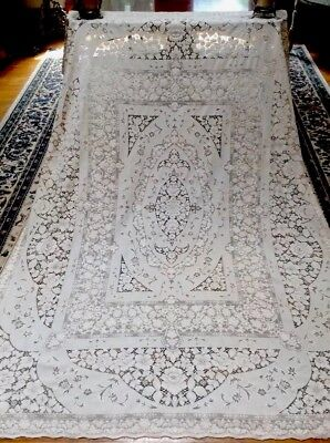 Antique Quaker Lace Tablecloth White House Heavy Dense Cotton