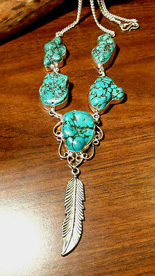 Beautiful Hand Crafted Native American Nugget Turquoise  & Lg Feather Necklace
