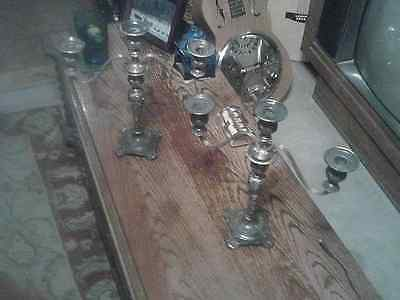2 Silver Vintage Wm Rogers & Sons Victorian Rose Triple Light Candelabra Candle