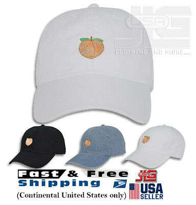 8a6903bb PEACH EMOJI EMBROIDERY Dad Hat Adjustable Polo Style Unconstructed ...