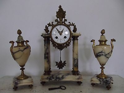 antique french clock Pendulum columns ornament fireplace portico garlands flower