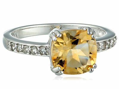 Cushion Cut Yellow Citrine & White Topaz Sterling Silver Ring 1.6 ct Size 7