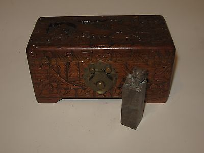 Vintage Chinese Carved Seal Stamp with Intricately Carved Wooden Box