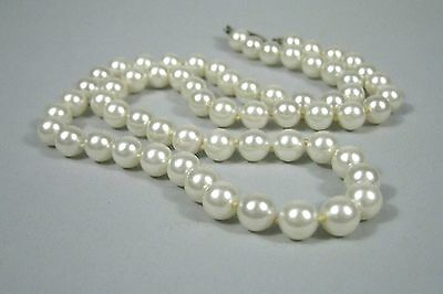 Necklace 23 Inch Faux Pearl Strand String Unsigned VTG 1990-1970 ? White