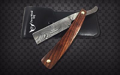 Professional Handmade Damascus Steel Straight Razor - Beautiful Wood  Handle