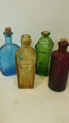 Wheaton Glass Bottles Lancaster Bitters Ben Franklin Blue Green Red Lot of 4
