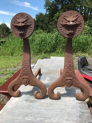 Antique Bradley Hubbard Usa Cast Iron Medieval Statue Dragon Fireplace Andirons