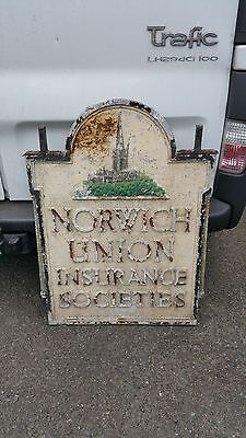 Rare Vintage Double Sided Aluminium Norwich Union Sign Architectural Salvage