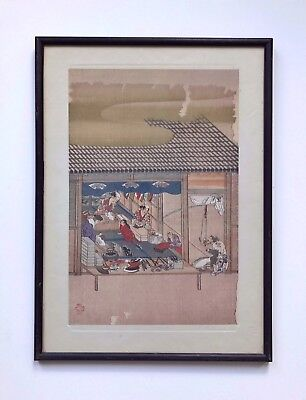 An Antique Japanese Framed Woodblock Print Fans Worker By Tosa Mitsuoki