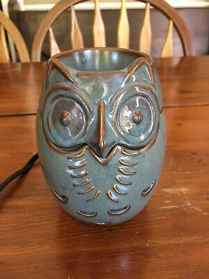 Partylite ScentGlow Warmer Sage Owl Wax Melter Base Dish Electric P91519 Green