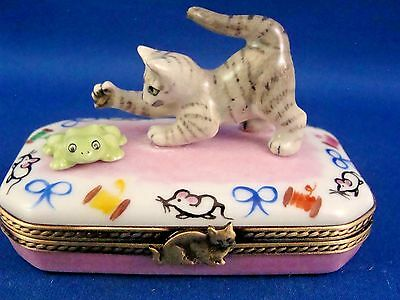 Gray Striped Kitty Cat & Frog  - Feline Fun - authentic FRENCH LIMOGES box