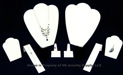 8 Piece White Leatherette Jewelry Display Presentation or Photography Set WL3