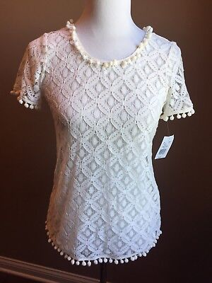 Moa Moa Women's Ivory Short Sleeve Lace Blouse With Pom-Pom Edging Size Small