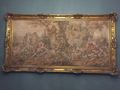 Stunning French Tapestry With Gold Gilted Frame