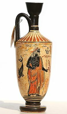Greek Ceramic Vase Pot Vessel lekythos Goddess Athena God Poseidon 10.2in