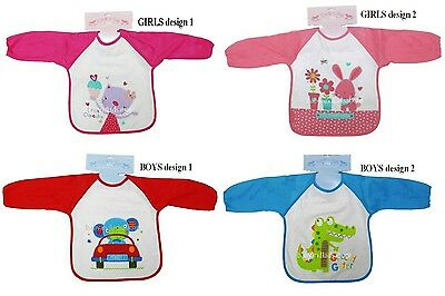 Baby Bib Coverall Apron with Long Fabric Sleeve and Waterproof Back, Boys, Girls
