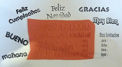 Spanish Phrases, Seven Unmounted Rubber Stamps