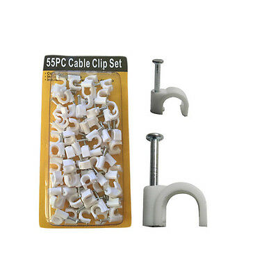 55PC Indoor/Outdoor Use White 6MM Cable Clip Set