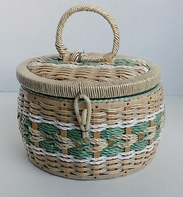 Vintage Japan Round Singer Sewing Notions Box Woven Beige Green White Pincushion