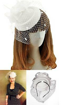 Fascinator Hats Pillbox Hat British Bowler Hat Feather Flower Veil Wedding Hat (
