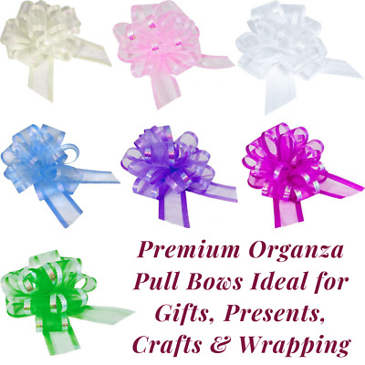 Large 50mm Organza Pull Bow Quality Gift Wrap Ribbon Wedding Car Birthday Party