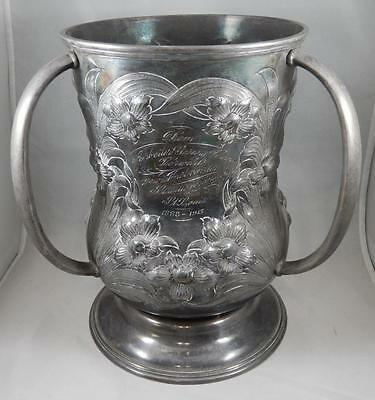 Antique Art Nouveau Flower BARBOUR Silver Plate Huge 3 Handled Vase Urn BG036