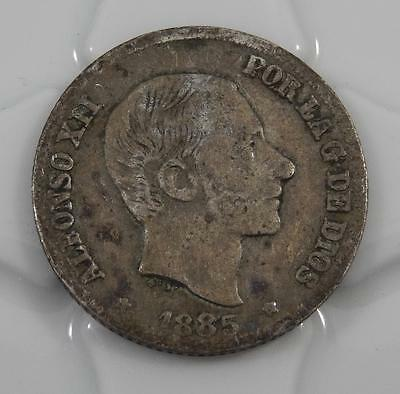 Spain Philippines 1885 10 Centavos Silver Coin C0151