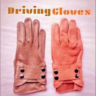 Real Soft Leather Men Top Quality Driving 4 Button Gloves Brown/tan