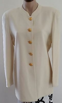 Retro 90s Carla Zampatti Australia Made CREAM Wool Career Blazer Jacket size 10