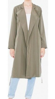 American Apparel Lightweight Dylan Trench Duster Coat Hampton Green Olive M / L
