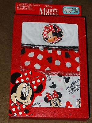 Disney Minnie Mouse 3 Toddler Girls' Panties-Size 4T-New In Pkg.-Free Shipping