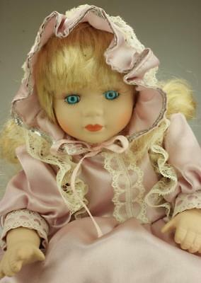 Porcelain Doll with Music & Stand 30cm in Original Box SA44