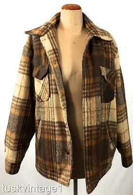 VINTAGE Mens BROWN tones WOOL blend CHECK faux SHERPA lined LuMBER JACKET coat L