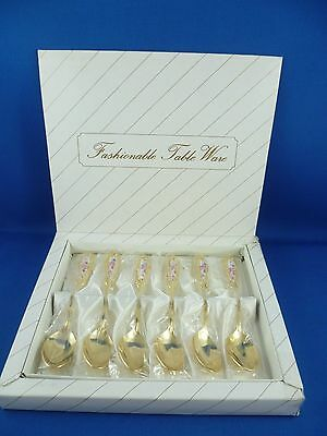 6 X Beautiful Gold Plated Stainless Steel Japan Tea Spoons Set