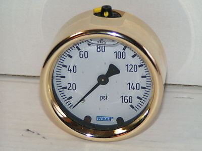 "Wika 160 PSI 2 1/2"" CBM Brass Glycerin Liquid Filled Gauge 213.40 9318186 NEW"