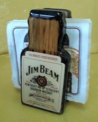 Early Jim Beam White Label Bottle Shaped Wooden Serviette Holder Made In Usa