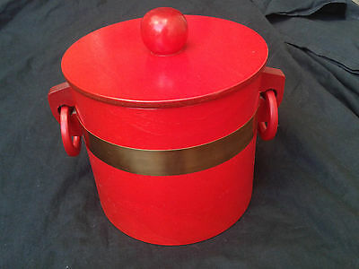 Vintage Red Stained Timber Ice Bucket with Lid-Made in Japan