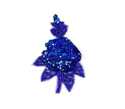 8 × Royal Blue Embroidered Sequin Flower Applique Patch Motif, Iron-on, 9cm