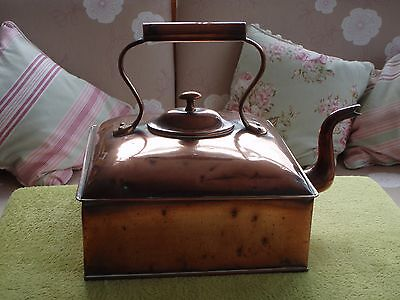 Antique Victorian Very Large Solid Copper Square Fireplace Kettle - Inglenook