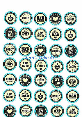 35 X Fathers day Cupcake Topper Cup Cake icing edible sheet theme Dad Father's
