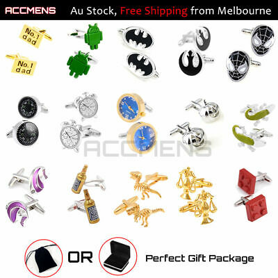 Mens Fashion Novelty Cufflinks Metal Unique Party Vintage Fun Superhero Gift Box