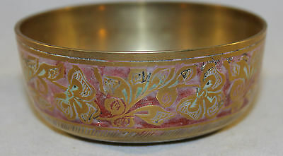 """Vintage Indian Brass Small Bowl Intricate Coloured Floral Engraving 3"""" Diameter"""