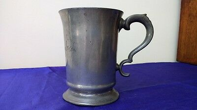 Antique Pewter Quart Tankard