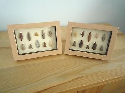 Neolithic Arrowheads in 3D Picture Frames x 2, Authentic Artifacts 4000BC (0159)