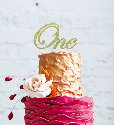 Number One Swirly Cake Topper - Glitter Gold - 1st Birthday Cake Topper Large