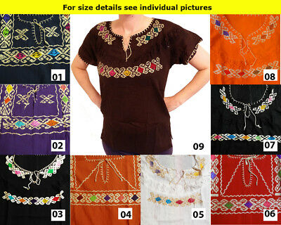 CHRISTMAS Authentic Hand made embroidered ladies Mexican blouse Chiapas #4
