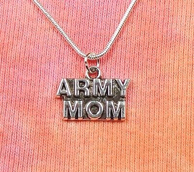 """Army Mom Necklace, pick 16-36"""" inch chain, Military Armed Forces Charm Pendant"""